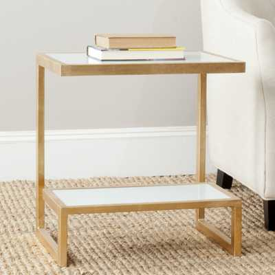 Kennedy Mirror Top Accent Table - Gold/White - Arlo Home - Arlo Home