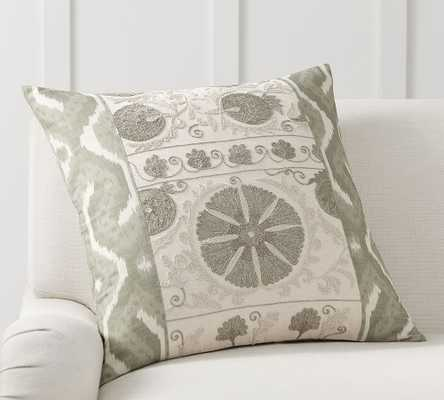 "Carmine Embroidered Pillow Cover, 24"" x 24"", Sage - Pottery Barn"