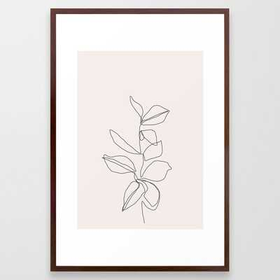 Botanical Illustration Line Drawing - Birdie I Framed Art Print by The Colour Study - Conservation Walnut - LARGE (Gallery)-26x38 - Society6