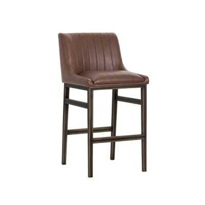 "Halden Armless Bar & Counter Stool Seat Height: Bar Stool (30"" Seat Height), Color: Dark Brown, Upholstery: Cognac - Perigold"