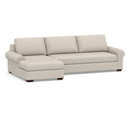 Big Sur Roll Arm Upholstered Right Arm Sofa with Chaise Sectional and Bench Cushion, Down Blend Wrapped Cushions, Performance Twill Stone - Pottery Barn