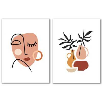 Abstract Woman Face by Elena David - 2 Piece Wrapped Canvas Graphic Art Print Set - Wayfair