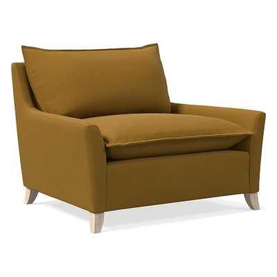 Bliss Chair and a Half, Down, Performance Velvet, Saffron, Ash - West Elm