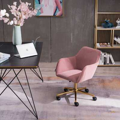 Velvet Home Office Chair With Gold Metal Legs,Pink - Wayfair