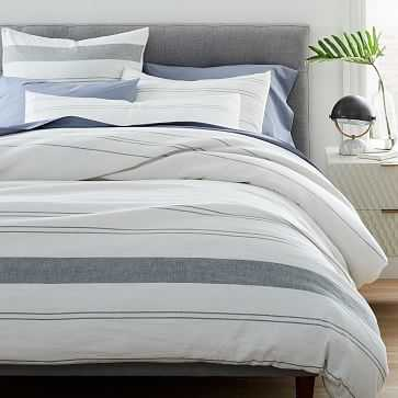 Hemp Cotton Serene Stripes Duvet, King, Undyed Natural + Misty Gray - West Elm