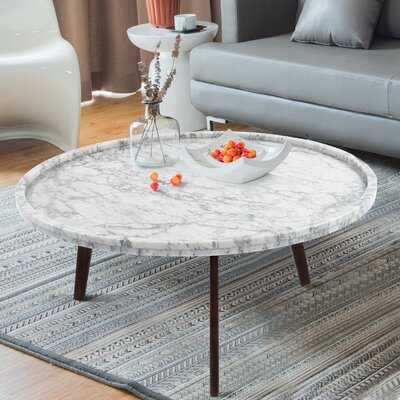 "Griselda 31"" Round Italian Carrara White Marble Coffee Table - Wayfair"
