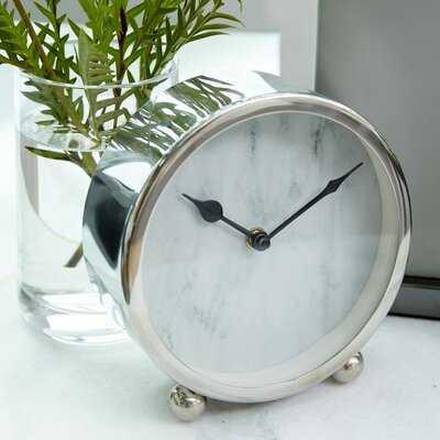 "Round Metallic Silver Metal Table Clock, 6"" X 6"" - Wayfair"