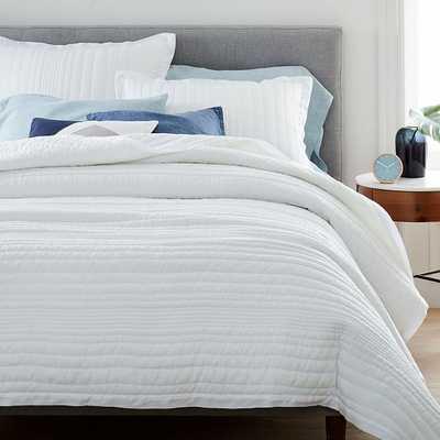 Belgian Flax Linen Linework Quilt & King Sham, White, King - West Elm