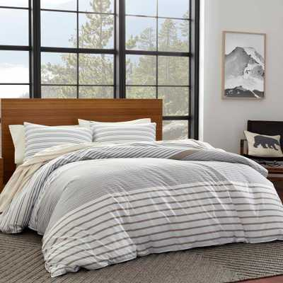 Eddie Bauer 3-Piece Beige Cooper Stripe Full/Queen Duvet Cover Set - Home Depot