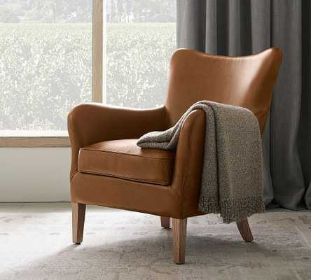 Clark Leather Armchair, Polyester Wrapped Cushions, Vintage Caramel - Pottery Barn