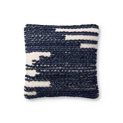 """PILLOWS P4144 NAVY / IVORY 18"""" x 18"""" Cover w/Poly - ED Ellen DeGeneres Crafted by Loloi Rugs"""