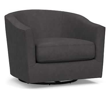Harlow Leather Swivel Armchair, Polyester Wrapped Cushions, Performance Carbon - Pottery Barn