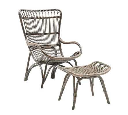 Monet Rattan Chair and Ottoman, Taupe - Pottery Barn
