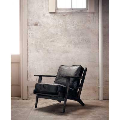 "Four Hands Brooks 21.5"" Armchair Fabric: Rialto Ebony, Leg Color: Black Wash - Perigold"
