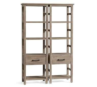 Paulsen Reclaimed Wood Double Bookcase, Cinder Gray - Pottery Barn