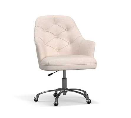 Everett Upholstered Swivel Desk Chair, Polished Nickel Base, Chenille Basketweave Taupe - Pottery Barn