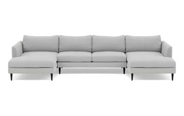 Owens U-Sectional with Grey Ecru Fabric and Unfinished GunMetal legs - Interior Define
