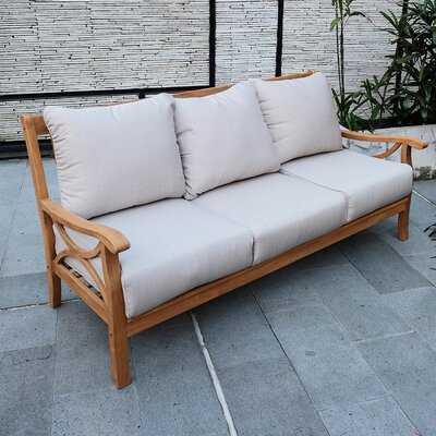 Brunswick Teak Patio Sofa with Cushions - Wayfair