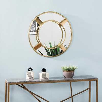 Southern Enterprises Estville Bright Brass Sculptural Wall Mirror - Home Depot