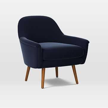 Phoebe Midcentury Chair, Poly, Distressed Velvet, Ink Blue, Pecan - West Elm