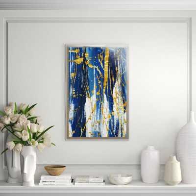 "Chelsea Art Studio 'Lucid Flows II (Gold Embellishment)' Print Format: Thin Plexi Box Art (Giclee Canvas in Acrylic Box), Size: 60"" H x 40"" W - Perigold"