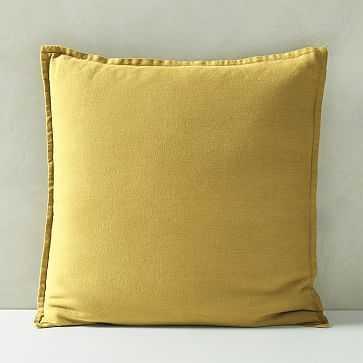 """Belgian Flax Linen Pillow Cover, Sand Yellow, 20""""x20"""" - West Elm"""