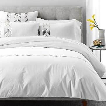 Percale Chasing Arrows Embroidery Duvet, Full/Queen, Stone White + Belgian Flax + Iron Gate - West Elm