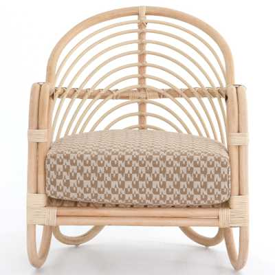 Marie Modern Brown Performance Upholstered Rattan Chair - Kathy Kuo Home