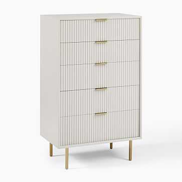 Quinn Lacquer 5-Drawer Dresser, Haze, Antique Brass - West Elm