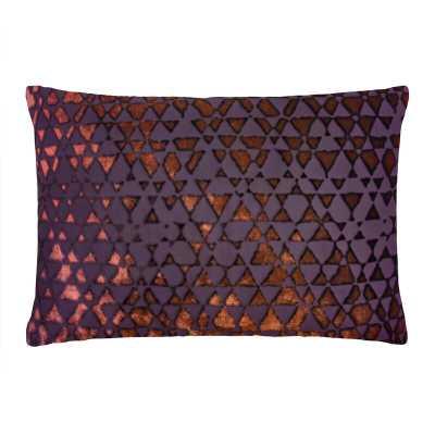 "Kevin O'Brien Studio Triangles Velvet Geometric Lumbar Pillow Color: Wildberry, Size: 14"" x 20"" - Perigold"