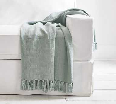 "Dayton Linen Throw, 50 x 60"", Olive - Pottery Barn"
