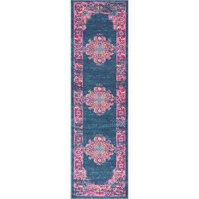 Abbate Oriental Navy Blue/Pink Area Rug - Wayfair