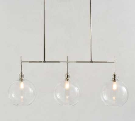 Glass Globe Linear Chandelier, Nickel - Pottery Barn