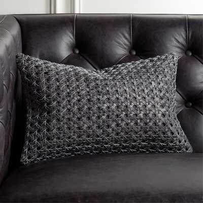 "18""x12"" Grey Woven Leather Pillow with Down-Alternative Insert - CB2"
