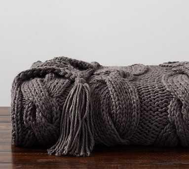 "Bluma Chunky Knit Tassel Throw, 50 x 60"" - Pottery Barn"