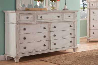 Dorinda Vintage Style 9 Drawer Double Dresser - Birch Lane
