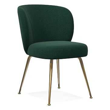 Greer Dining Chair, Distressed Velvet, Forest, Light Bronze - West Elm