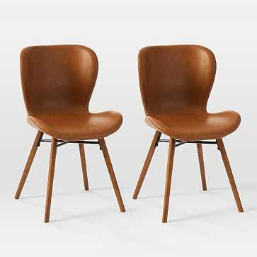 Uma Faux Leather Dining Chair, Saddle, Pecan - Set of 2 - West Elm