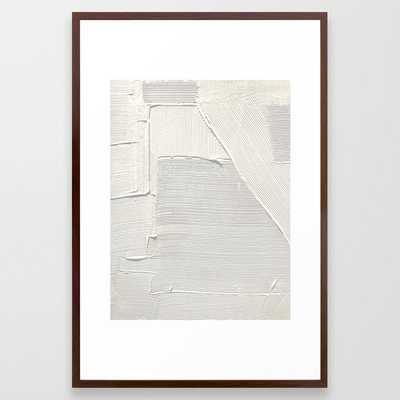 Relief [2]: An Abstract, Textured Piece In White By Alyssa Hamilton Art Framed Art Print by Alyssa Hamilton Art - Conservation Walnut - LARGE (Gallery)-26x38 - Society6