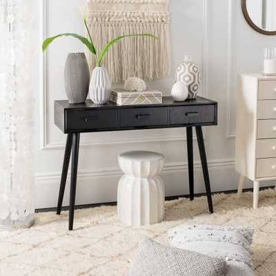 Safavieh Albus Black Console Table 3-Drawer - Home Depot