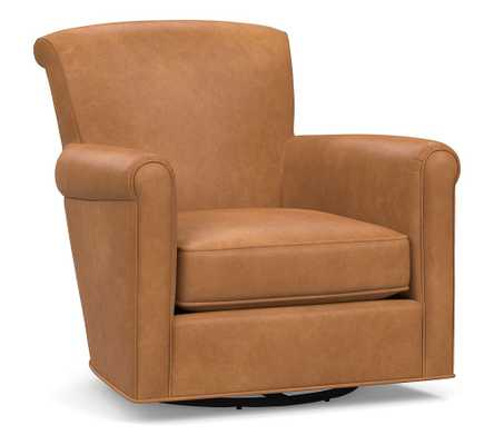 Irving Roll Arm Leather Swivel Armchair, Polyester Wrapped Cushions, Churchfield Camel - Pottery Barn