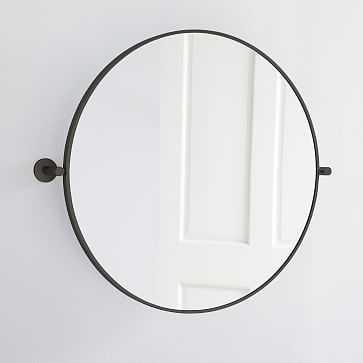Metal Frame Pivot Mirror, Round, Dark Bronze - West Elm