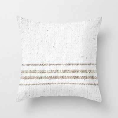 """Vintage Farmhouse Grain Sack - Sandstone Stripes Couch Throw Pillow by Christina Lynn Williams - Cover (18"""" x 18"""") with pillow insert - Outdoor Pillow - Society6"""