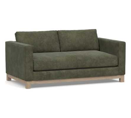 "Jake Leather Loveseat 70"" with Wood Legs, Down Blend Wrapped Cushions Nubuck Loden Green - Pottery Barn"
