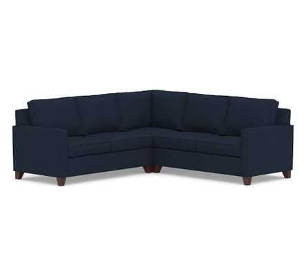 Cameron Square Arm Upholstered 3-Piece L-Shaped Corner Sectional, Polyester Wrapped Cushions, Performance Heathered Basketweave Navy - Pottery Barn