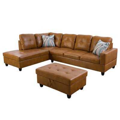 "Eshaun 74.5"" Wide Faux Leather Sofa & Chaise with Ottoman - Wayfair"