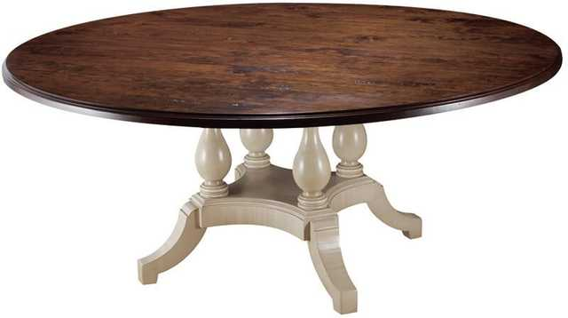 "MacKenzie-Dow Four Pedestal Dining Table Color: Natural, Size: 30"" H x 60"" L x 60"" W - Perigold"