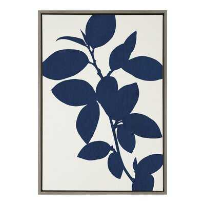 'Blue Botanical' by Homes Designs - Floater Frame Painting Print on Canvas - Wayfair
