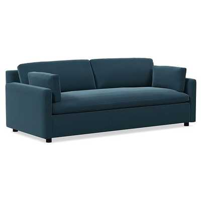 """Marin 94"""" Sofa, Down, Performance Velvet, Lagoon, Concealed Support - West Elm"""