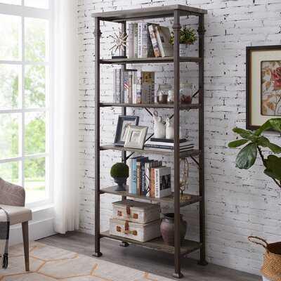 4-Tier Rustic Grey Oak Bookshelf - Wayfair